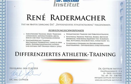 "Dr. Gottlob Institut - Master Lehrgang DAT ""Differenziertes Athletiktraining"""