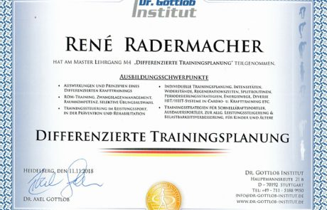 "Dr. Gottlob Institut - Master Lehrgang M4 ""Differenzierte Trainingsplanung"""